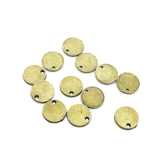 3 breloques pastille ronde en métal couleur bronze 11,5mm