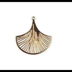 Grande breloque feuille de gingko stylisée et ajourée en métal doré 34x36mm