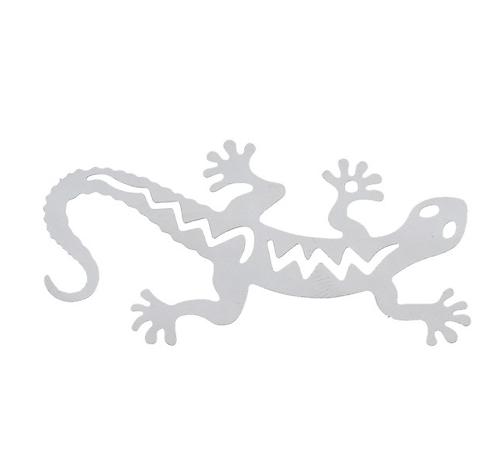 Grande estampe fine margouillat / gecko en acier inoxydable 50x26mm