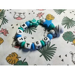 Anneau de dentition tortue en bleu turquoise/émeraude et sa clochette assortie - jouet enfant - cadeau de naissance