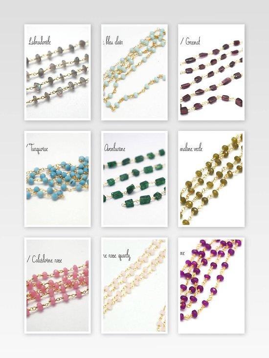 20cm de chaîne façon rosaire en perles de gemmes et fil d'or 14K