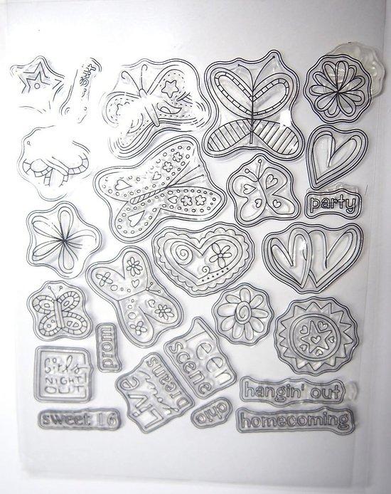 Planche de 25 tampons en silicone - thème animaux