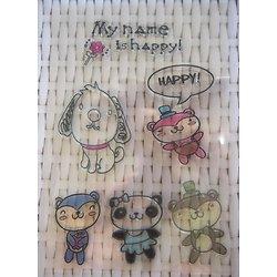 Planche de 6 tampons en silicone - thème motifs enfantins