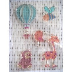 Planche de 5 tampons en silicone - thème animaux et montgolfière