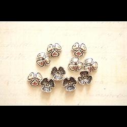 10 coupelles fleur en métal argenté 10mm