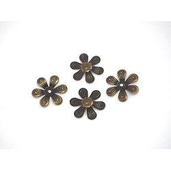 6 grandes coupelles fleur en métal couleur bronze 18mm