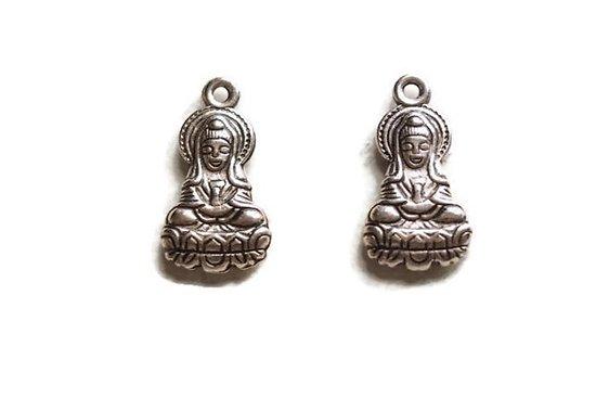 2 breloques Bouddha assis en acrylique 27x14mm