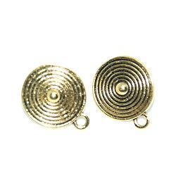 2 clous d'oreille ethnique ronde spirale - simple connexion en métal doré antique 22x18mm