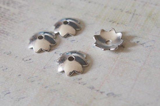 4 coupelles étoile en métal argenté 12mm