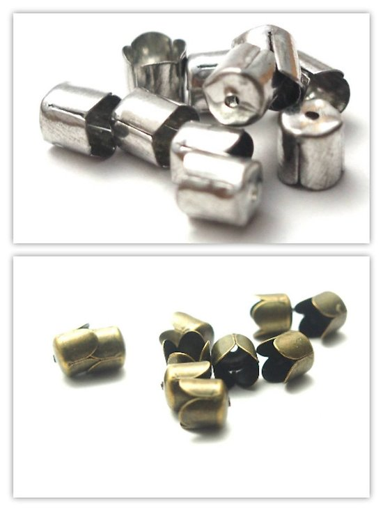 50 coupelles pour pompon en métal 7mm