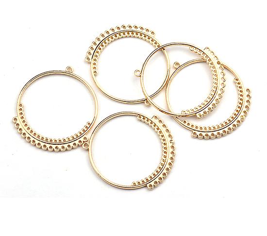 Grand anneau connecteur en métal doré 34x39mm