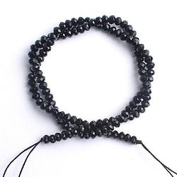 20 perles noires de cristal tchèque à facettes 4mm