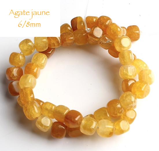 4 perles cube d'agate jaune 6/8mm