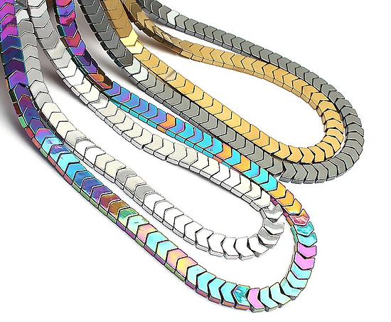 10 perles chevrons en hématite multicolore 6x5mm