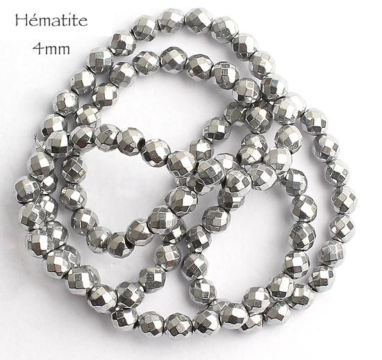 10 perles à facettes d'hématite argenté 4mm