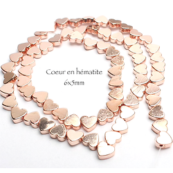 5 perles coeur en hématite doré rose 5x6mm