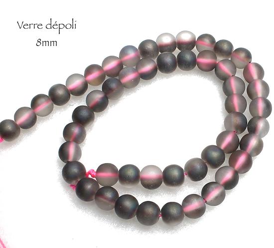 5 perles rondes en verre dépoli gris clair/anthracite 8mm