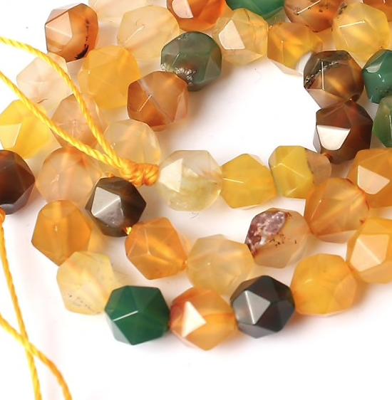 5 perles d'agate à facettes 6mm