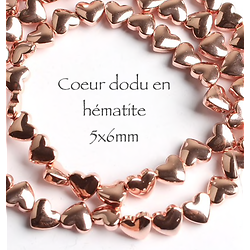 5 perles coeur dodu en hématite doré rose 5x6mm