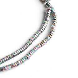 20 petites perles hexagonales en hématite cyan 2x2mm