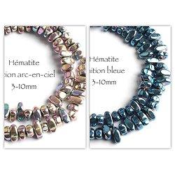 10 perles poly formes en hématite 3-10mm