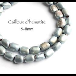 """5 perles """"cailloux"""" d'hématite arc-en-ciel 8-11mm"""