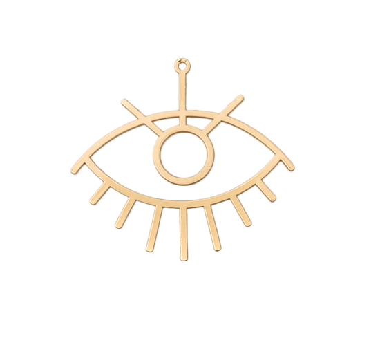 Grande breloque oeil stylisé en métal doré mat 42x39mm