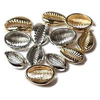 Perle / breloque / connecteur cauris en métal doré