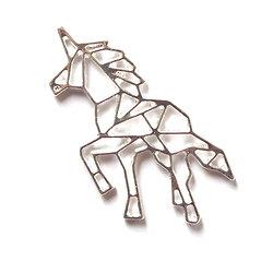 Breloque licorne origami + chaîne en métal argenté 37x27mm