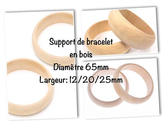 Support de bracelet / Bangle en bois brut - diamètre 65mm