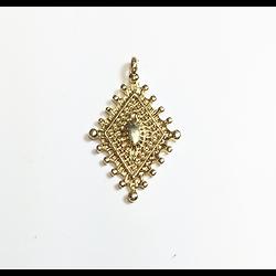 Breloque / pendentif losange ethnique en métal doré 30x18mm