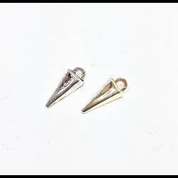 2 mini breloques cône en métal doré 4x9mm