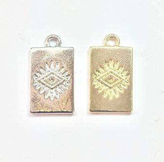 2 breloques rectangulaires oeil ethnique en métal doré 10x18mm