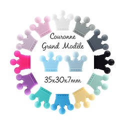 Perle couronne en silicone 35x30x7mm