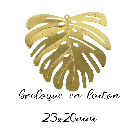 Breloque feuille de Monstera en laiton doré 23x20mm