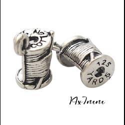2 breloques bobine de fil (creuses) en métal argenté 14x7mm