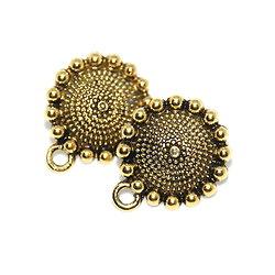 2 clous d'oreille ethnique ronde fleur - simple connexion en métal doré antique 22x18mm