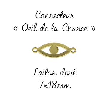 Petit connecteur oeil de la chance en laiton doré 7x18mm
