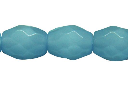 3 perles olives en verre à facettes bleu lavande 13x10mm