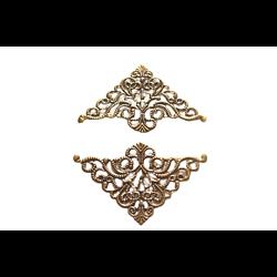 2 grandes estampes triangulaires en métal couleur bronze 77x49mm