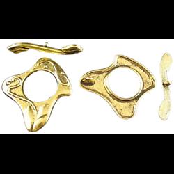 2 fermoirs toggle stylisés en métal doré 27,6x23mm