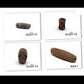 Perle tube en agate brune avec motifs ethniques 30x10mm