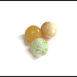 3 grosses perles d'agate veinées à facettes jaunes 14mm