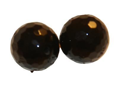 2 perles rondes d'onyx à facettes noires 14mm