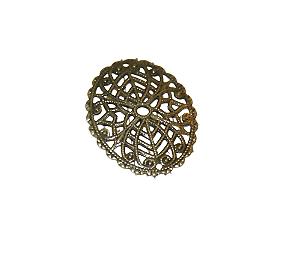 Estampe ovale bombée et fine en métal couleur bronze 24x30mm