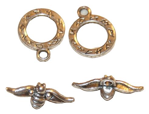2 fermoirs toggle abeille en métal argenté 20x16mm