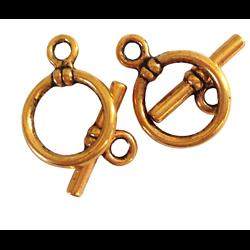 2 fermoirs toggles ronds en métal doré vieilli 20,2x14,7mm
