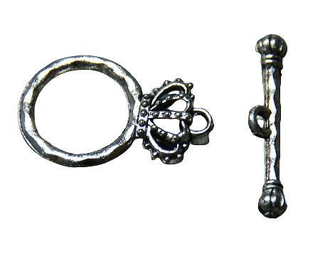 Fermoir toggle couronne argenté 15x22mm