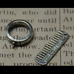Fermoir toggle peigne en métal argenté 21x18x5mm