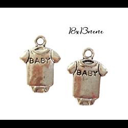 2 breloques body de bébé en métal argenté 18x13mm